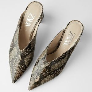 Zara animal snakeskin print high heeled mules